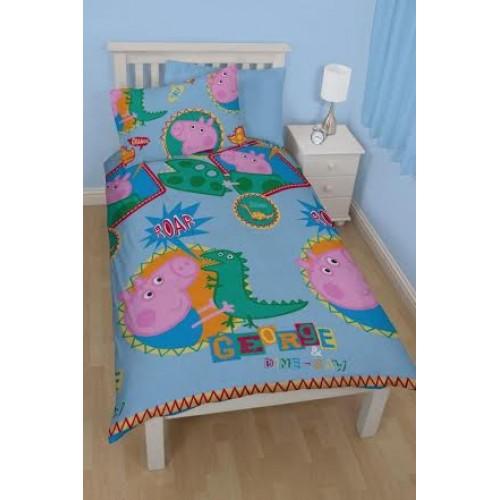 Peppa Pig George 'Roar' Single Quilt Cover and Pillowcase Set : peppa pig quilt cover set - Adamdwight.com